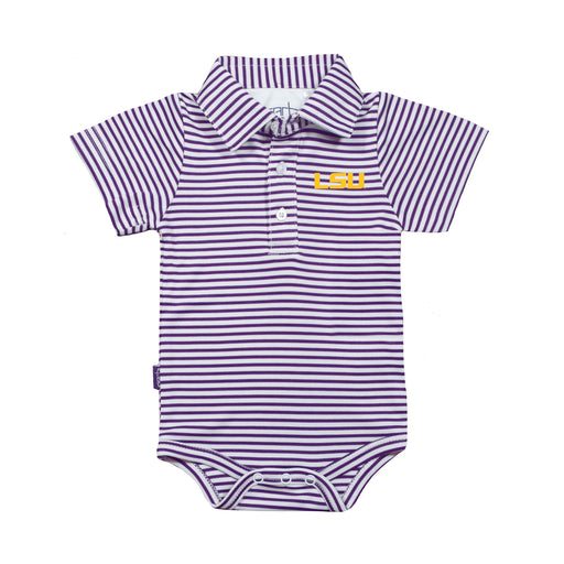 LSU Tigers Infant Striped Polo Bodysuit - Purple/White