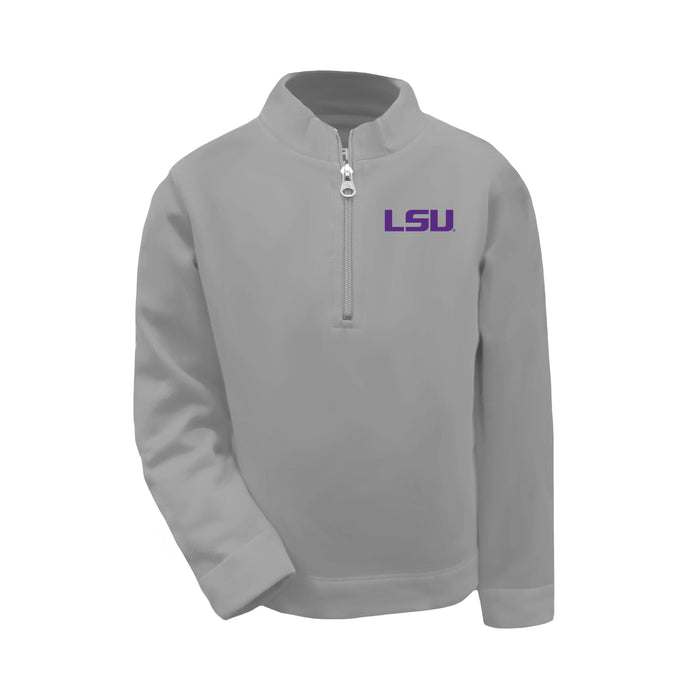 LSU Tigers Toddler & Youth Boys 1/4 Zip Sweatshirt Pullover - Oxford Grey