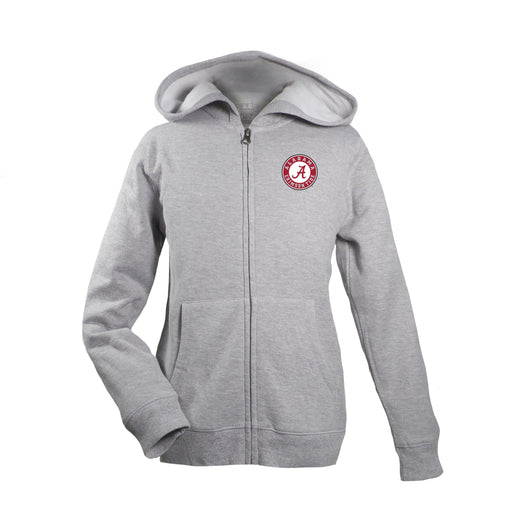 Alabama Crimson Tide Kid's Unisex Full Zip Hoodie - Oxford Grey