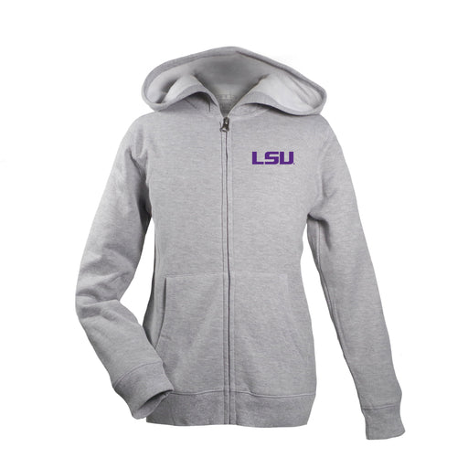 LSU Tigers Kid's Unisex Full Zip Hoodie - Oxford Grey