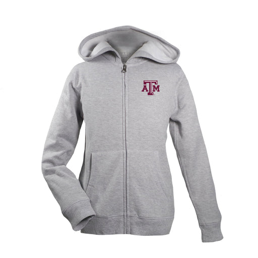 Texas A&M Aggies Kid's Unisex Full Zip Hoodie - Oxford Grey