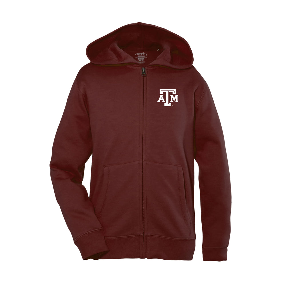Texas A&M Aggies Kid's Unisex Full Zip Hoodie - Maroon