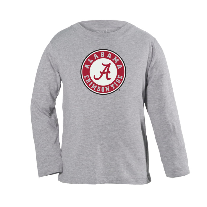 Alabama Crimson Tide Toddler Boys Long Sleeve 100% Cotton U-Neck Shirt - Gray