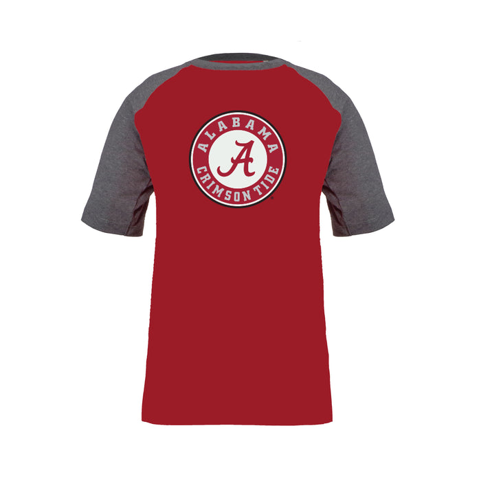 Alabama Crimson Tide Youth Boys 100% Cotton Short Sleeve Baseball Style T-Shirt - Gray & Crimson