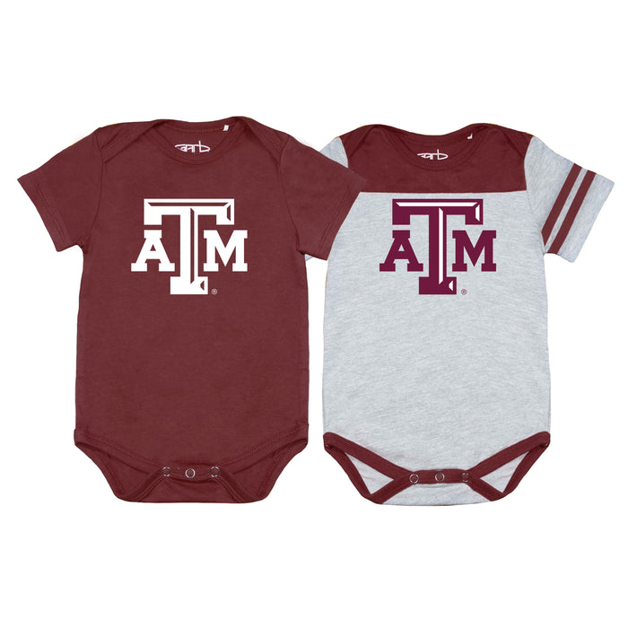 Texas A&M Aggies Newborn & Infant Eat, Sleep, Drool Football Two-Piece Bodysuit Set – Maroon/Gray