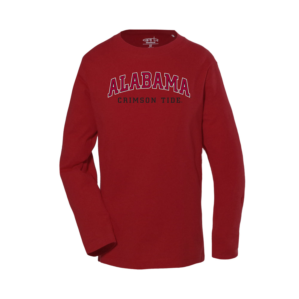 Alabama Crimson Tide Toddler Boys Long Sleeve 100% Cotton U-Neck Shirt - Crimson