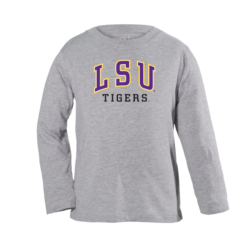 LSU Tigers Arch Over Logo Toddler Long Sleeve T-Shirt - Oxford Gray