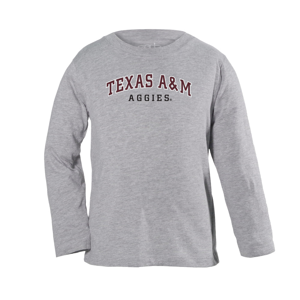 Texas A&M Aggies Toddler Boys Long Sleeve 100% Cotton U-Neck Shirt - Gray