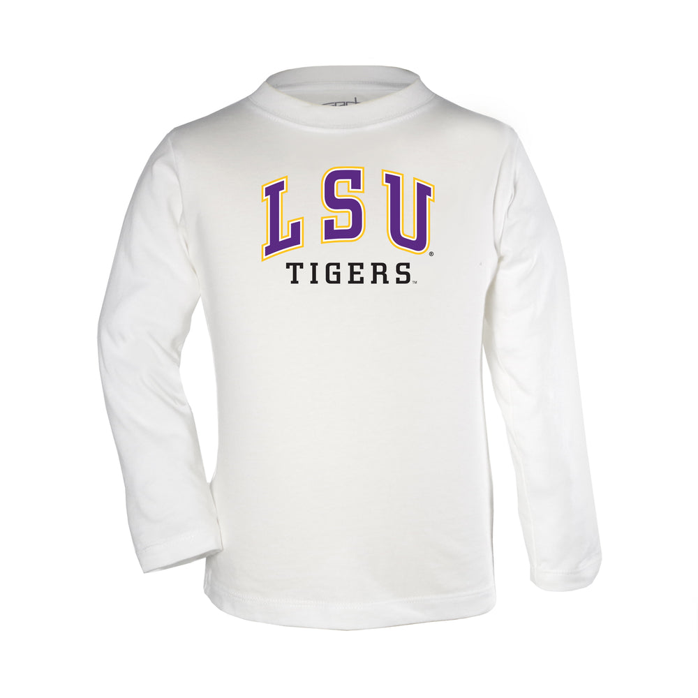 LSU Tigers Arch Over Logo Toddler Long Sleeve T-Shirt - White