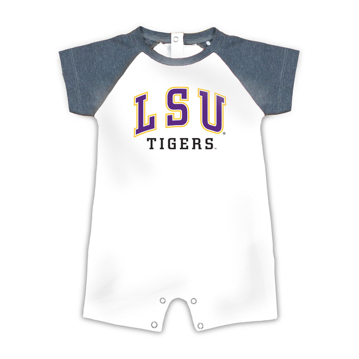 LSU Tigers Newborn Baseball Star Bodysuit - White/Gray