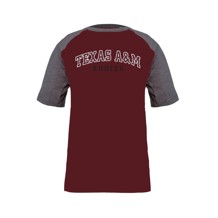 Texas A&M Aggies Boys 100% Cotton Short Sleeve Baseball Style T-Shirt - Gray & Maroon