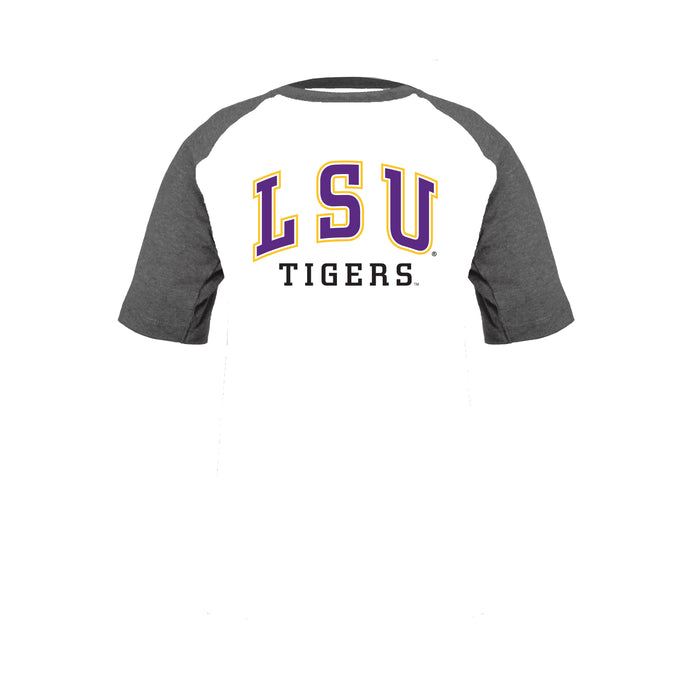 LSU Tigers Toddler & Youth Boys 100% Cotton Short Sleeve Baseball Style T-Shirt - Gray & White