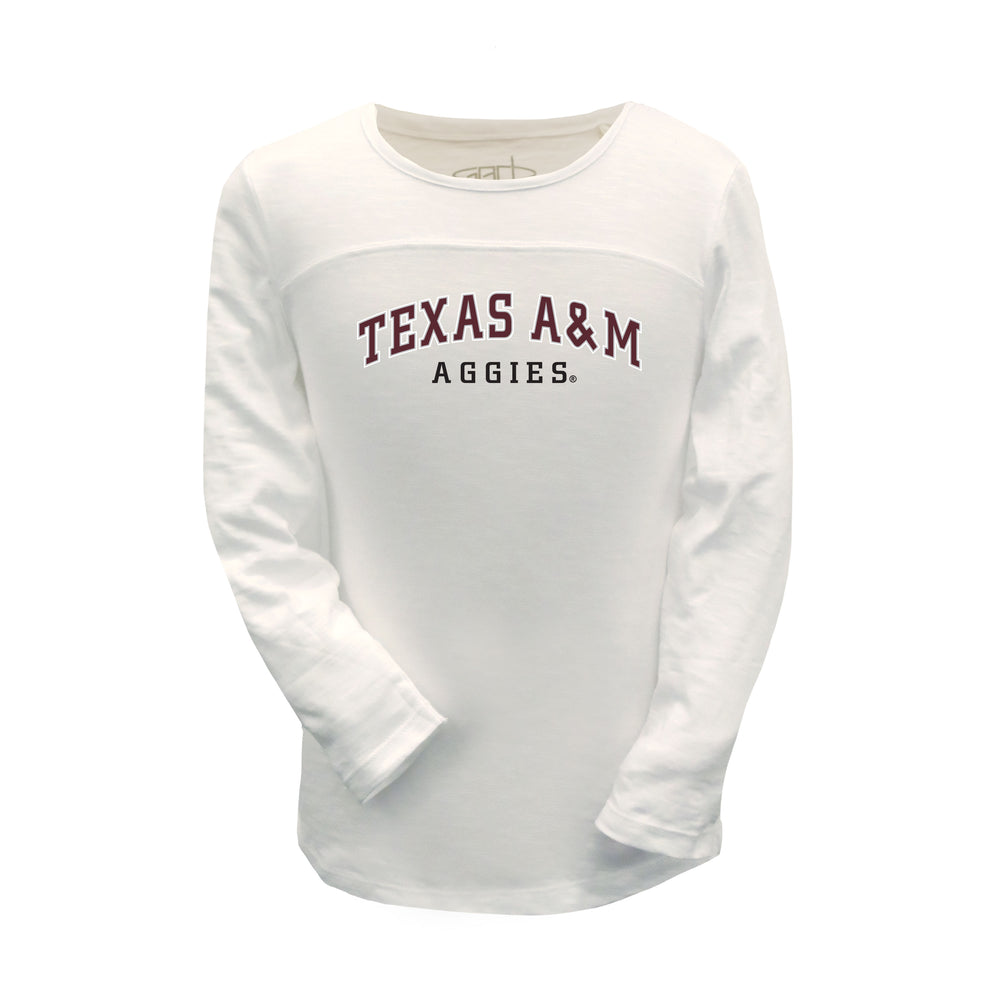 Texas A&M Aggies Girls Football Long Sleeve 100% Combed Cotton Crew-Neck T-Shirt - White