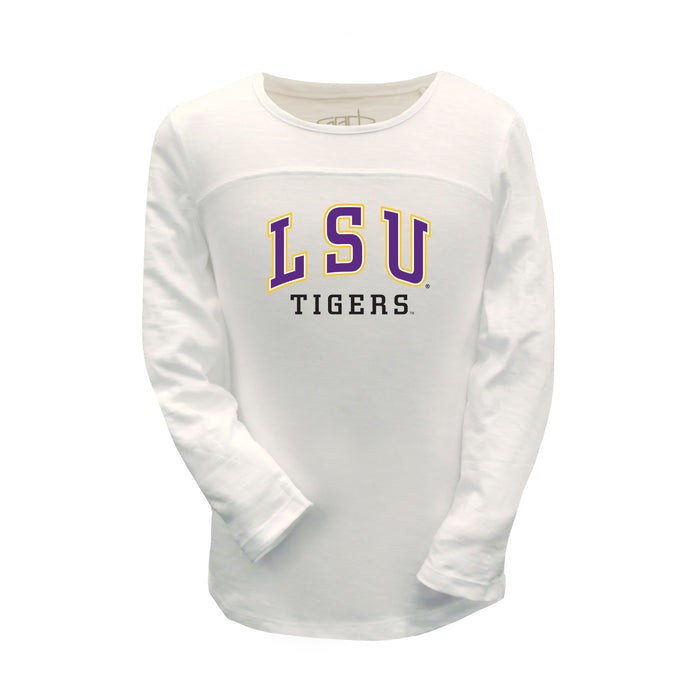"LSU Tigers Girls ""Robin"" Football Long Sleeve 100% Combed Cotton Crew-Neck T-Shirt - White"