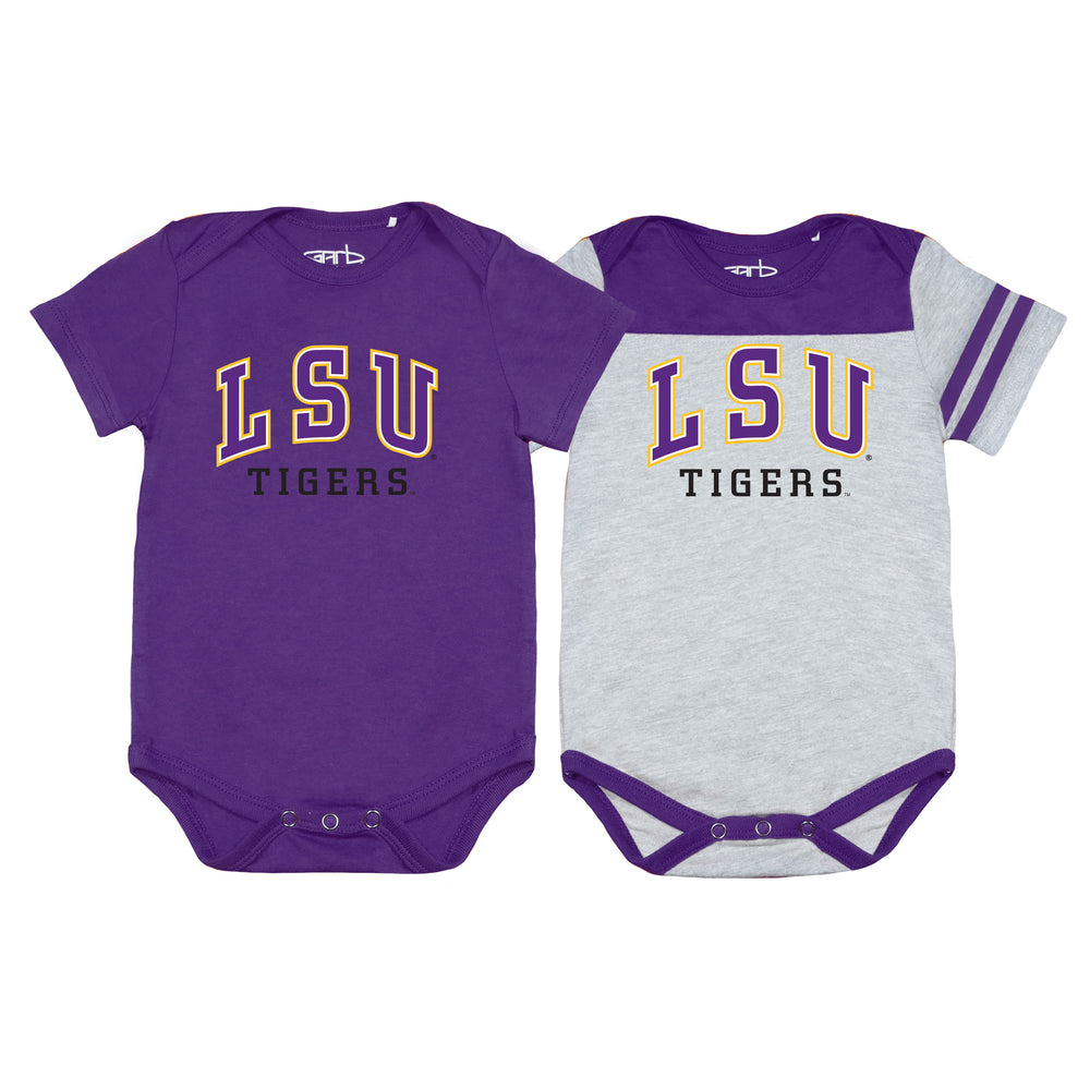 LSU Tigers Newborn & Infant Eat, Sleep, Drool Football Two-Piece Bodysuit Set – Purple/Gray