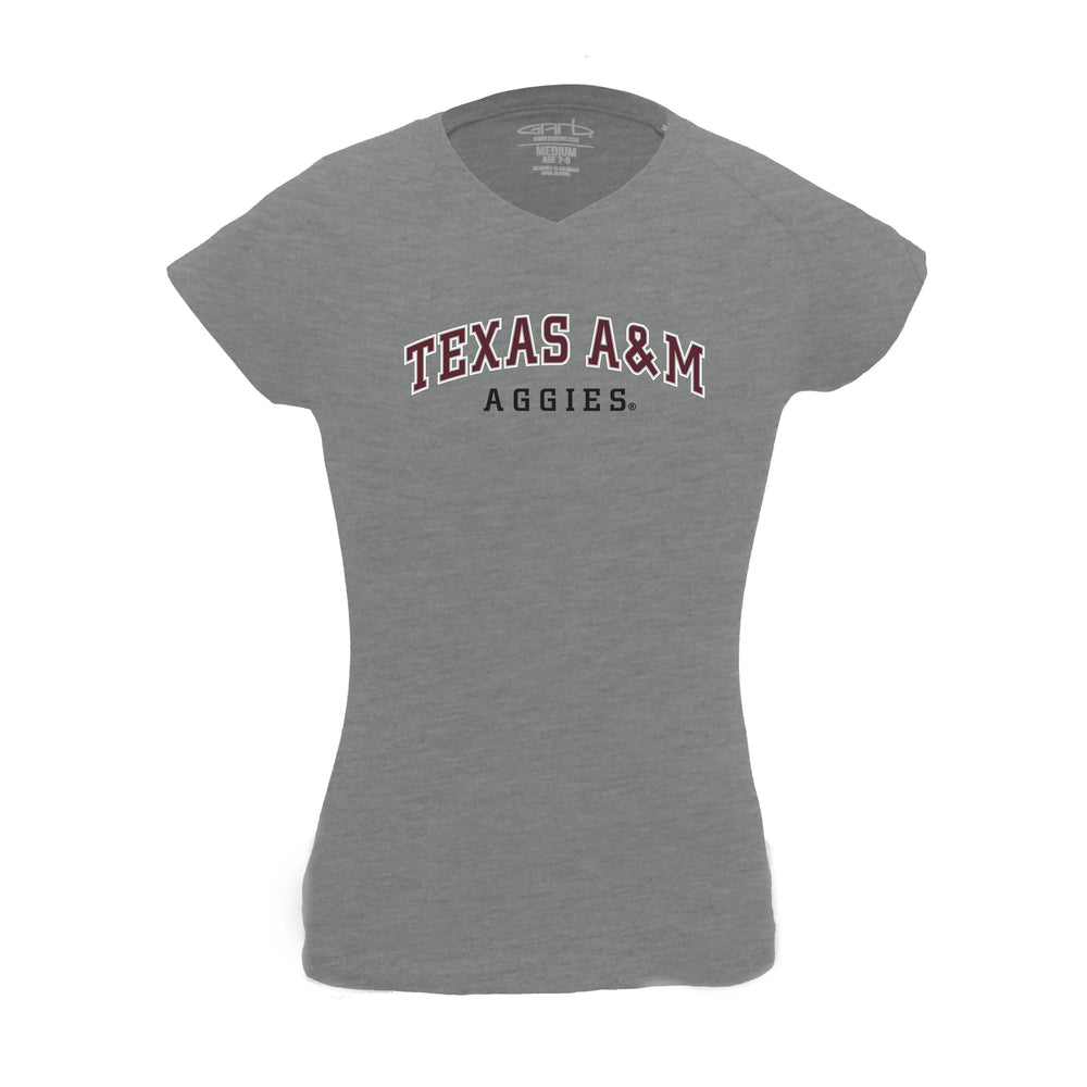 Texas A&M Aggies Girl's 100% Cotton V-Neck T-Shirt - Oxford Gray