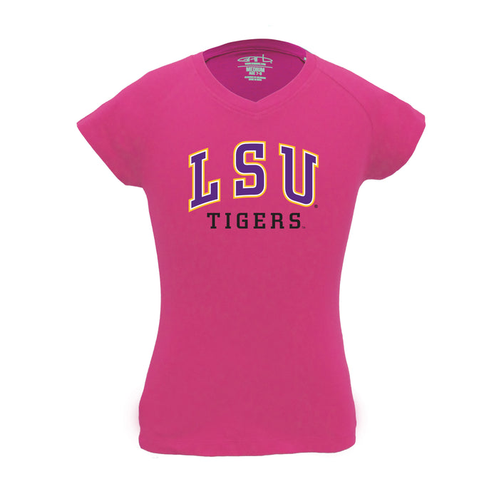 LSU Tigers Girl's 100% Cotton V-Neck T-Shirt - Pink