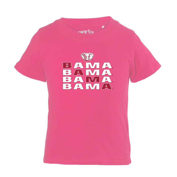Alabama Crimson Tide Infant Girls 100% Cotton Crew Neck T-Shirt - Pink