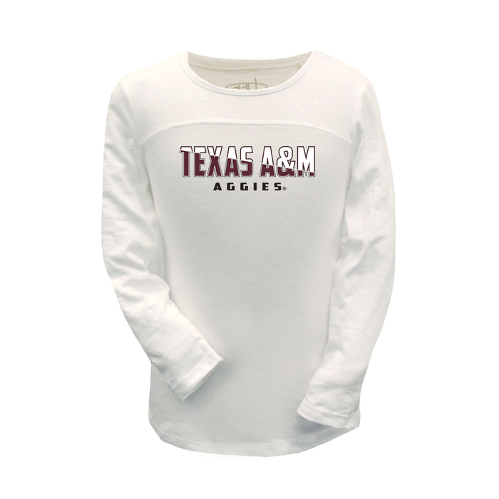 Texas A&M Aggies Junior Girls Football Long Sleeve 100% Combed Cotton Crew-Neck T-Shirt - White