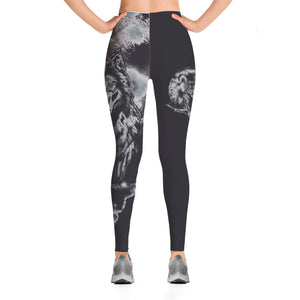 Leggings Fashion lobo, blanco y negro.