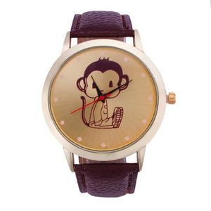 Fashion Monkey Pattern Leather Band Analog Quartz Vogue Wristwatches