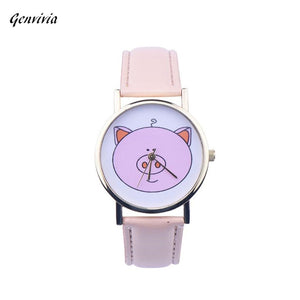 GENVIVIA Leather Band Women watch cartoon girl cute Pink Pig Analog Quartz WristWatches