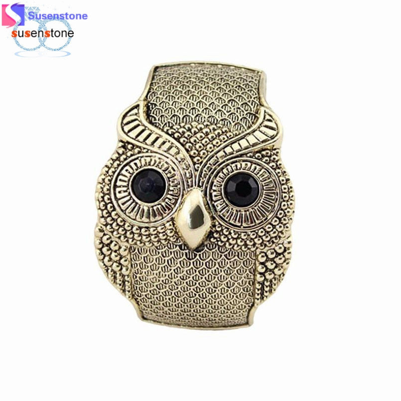 SUSENSTONE Retro Vintage Crystal Large Eye Owl Animal Cuff Wide Bangle Bracelet