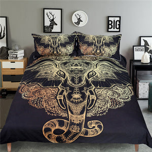 Elegant Elephant Duvet Cover Black and Gold