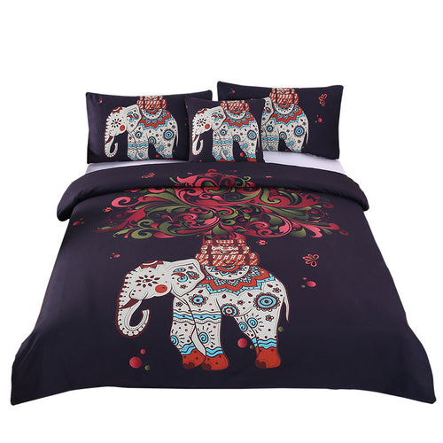 Black Elephant Bohemiam Duvet Cover Bedspread Twin/Full/Queen/King Bed Set 4Pcs