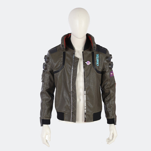 Cyberpunk 2077 Leather Jacket costume cosplay men coat