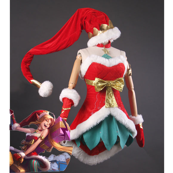 League of Legends Jinx Snow Festival Christmas costume cosplay outfit