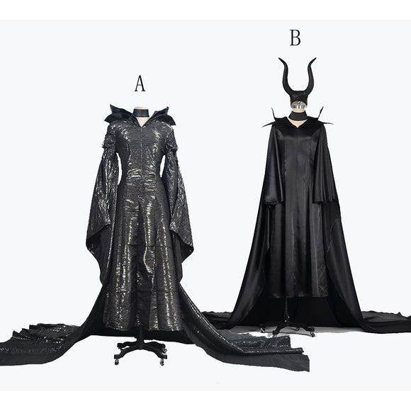 Maleficent Witch Cosplay Costume Women Black Dress Halloween