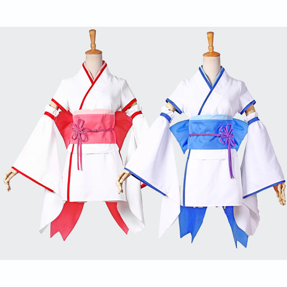 Starting Life in Another World Rem/Ram kimono costume cosplay Halloween outfit blue red dress