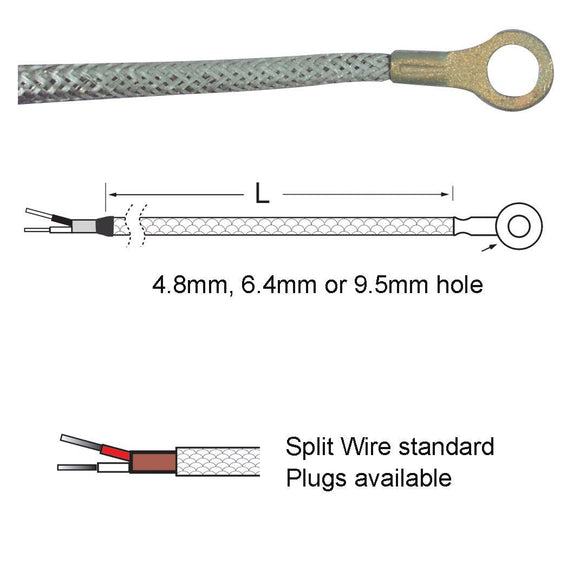 Standard Thermocouple - Washer Type Thermocouple. 4.8, 6.4 Or 9.5mm Hole