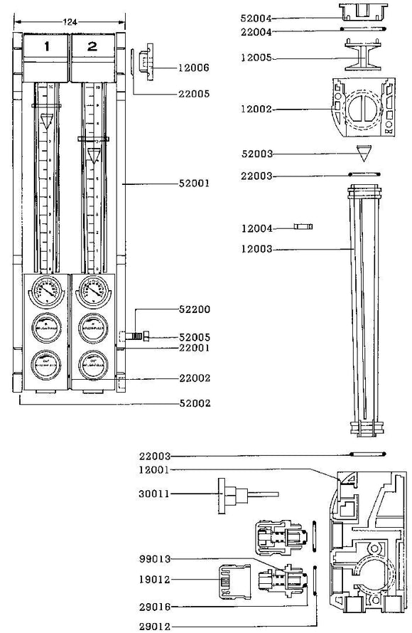 Water-Regulator-Parts - Water Regulator Parts - FLOW REGULATOR THERMOMETER