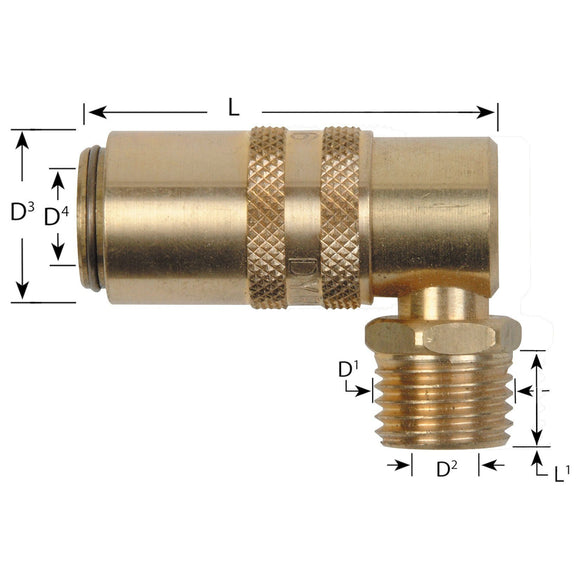 Waterline - Euro Series Compatible 90 Degree Socket Couplings With Male Thread