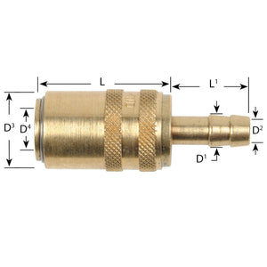 Waterline - Euro Series Compatible Straight Socket Couplings With Hose Tail