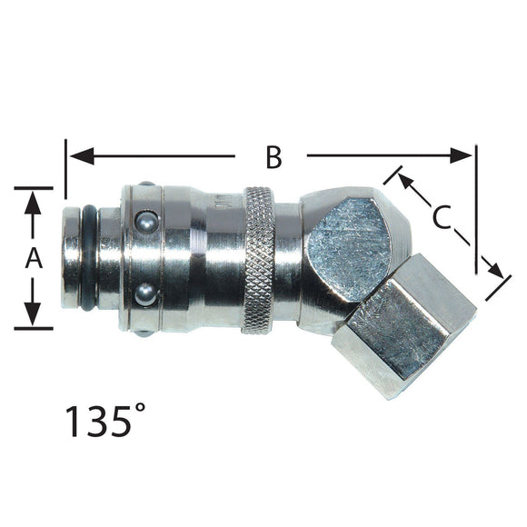 Waterline - RPL Compatible 135degree Socket Couplings With Female Thread