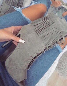 Hot Selling Women Peep toe Ankle Boots Suede Fringe Pumps Stiletto Heels Tassel Lace-up heels - Thj Fashion Boutique