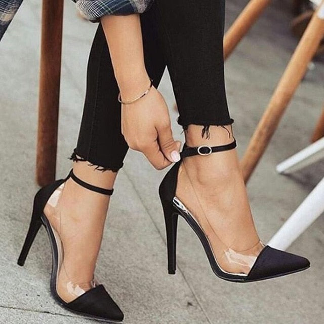 jelly clear  sexy women thin high heels ankle buckle heels - Thj Fashion Boutique