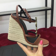Real leather bottom super beautiful small slope with leather letters copper buckle logo wedge sandals - Thj Fashion Boutique
