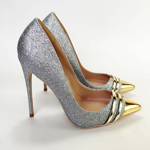 Women Genuine Leather Silver Glitter Toe Stiletto High Heel Pump