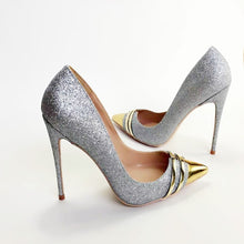 Load image into Gallery viewer, Women Genuine Leather Silver Glitter Toe Stiletto High Heel Pump