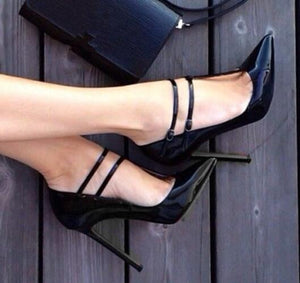 New Black Buckle Fashion Sexy High Heel Mary Janes Women Pumps