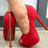 Red Zip High Heel Platform Women Pumps - Thj Fashion Boutique