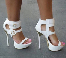 Load image into Gallery viewer, White Zip Buckle Fashion Sexy High Heel Platform - Thj Fashion Boutique