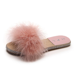 Plush Furry  Flats Ladies Slippers