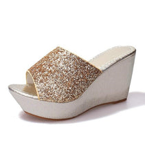 Load image into Gallery viewer, Sequined Wedge Slippers  Muffin thick-soled Sandals Slippers high-heeled Casual non-slip - Thj Fashion Boutique