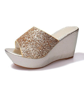 Sequined Wedge Slippers  Muffin thick-soled Sandals Slippers high-heeled Casual non-slip - Thj Fashion Boutique