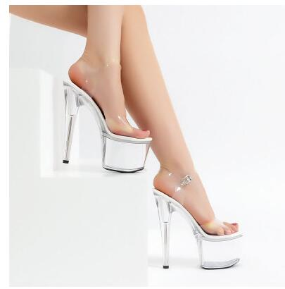 PVC Transparent Slim Ultra High Heels  Platform Sandals
